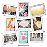 Bilderrahmen Fotorahmen für 9 Fotos im Format 10x15cm & 15x10cm, 48,5x45,5x2cm, Weiß, Bildergalerie Fotogalerie Fotohalter