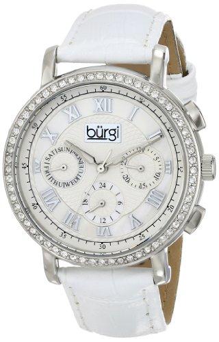 Burgi Femme Cristal Rond à Motif argenté Montre avec Bracelet en Cuir Blanc