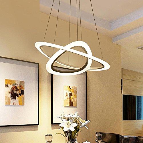 Retro Zwei Licht-insel (2-Ring LED Pendelleuchte Modern Elegant Minimalismus Runden Weiß Metall und Acryl Lampenschirme Hängelampe, für Schlafzimmer Küche Insel Esszimmer Wohnzimmer Studie Bar Büro Kronleuchter, 34W 3500K)