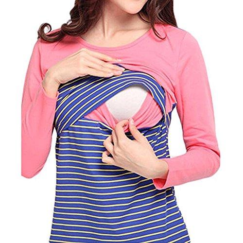 Yying Schwangerschaft Umstandsmode Mutterschaft Tops T-shirt Rosa M (T-shirt Rosa Mutterschaft)