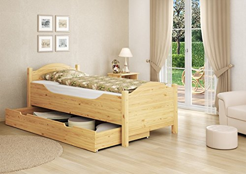 Seniorenbett extra hoch Bettkasten 100x200 Kiefer Holzbett Einzelbett Gästebett 60.40-10 oR S4