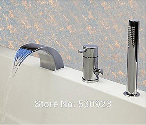 Zeitgenössische Badewanne (Luxurious shower Zeitgenössische Chrom Badezimmer Badewanne Armatur Set LED Farbwechsel Mischbatterie einzigen Griff Deck montiert, Multi)