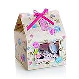 Cupcake-Schachteln mit Blumenmuster, für 4 Cupcakes, 10 Stück