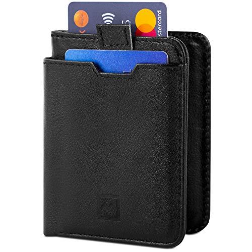 Mercor Mercor Premium Brieftasche flach für Herren mit RFID Schutz - Sicheres Kreditkarten-Etui aus PU Leder - Stabiles Kartenetui in schwarz für Bargeld und Karten - Geldbörse mit 7 Fächern (Black-Bifold)