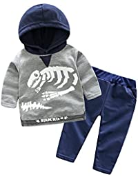 MYQyiyi niños otoño conjunto de moda sudadera con capucha impresa Dinosaurios