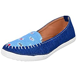 Footrendz Womens Ethnic Blue Denim Synthetic Leather Loafers (36 EU)