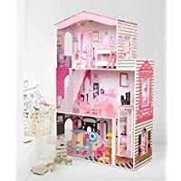 Kids Dollhouse with 17PCS Furniture 3 Storey Wooden Doll House - Cottage