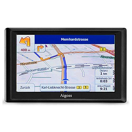 Aigoss Navigation für Auto, 5 Zoll Touchscreen 8GB GPS Navi Navigationsgerät mit POI Sprachführung Fahrspurassistent LKW PKW KFZ mit Lebenszeit Kostenlose Kartenupdates 2019 Europa Karten