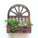LXLA- Solide Wod Wand-Blumentopf Stand Hängen Balkon Pflanzer Display Regal Fensterbank Wohnzimmer Topfpflanze Rack 38 × 17.5 × 45 cm