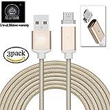 ALTech® 3 Pack Micro USB Gold Starke magnetische Nylon geflochtene lebenslange Garantie Ladevorgang und Datenübertragung Sync Kabel mit LED Indikator Bewerben für Android Samsung HTC LG Sony Motorola 2 Meter