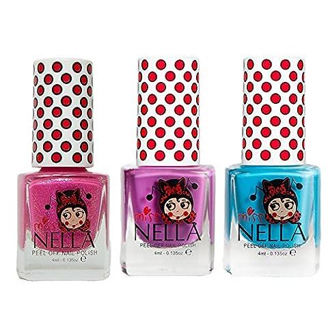 Miss Nella Mermaid Blau, Little Poppet, Tickle Me Pink spezielle Glitzer Kinder Nagellack mit Peel Off auf Wasserbasis Formel