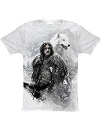 T-Shirt Sublimation Jon Snow & Ghost Game of Thrones