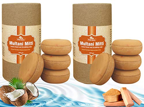 Florous Multani Mitti Luxury Facial and Scrubbing Soap (4 x 100 g, 400 g, Pack of 4)