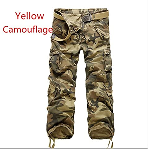 Junsi Combat Men's Casual Decontractee Cotton ARMY Pants pantalon Multi Pocket Military Camouflage Trousers Pantalon de camouflage Color Yellow Camouflage Size 40