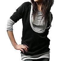 ZANZEA Donna Hoodie Felpa con Cappuccio Manica Lunga T-shirt Maglietta Maglia Blusa camicetta (Nero Con Cappuccio Camicia)