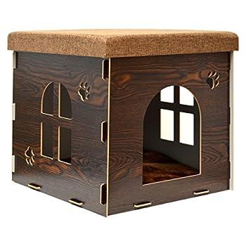 Eyepower Niche à Chien Dôme pour Chat 46x46x46cm Taille Grande L Maison boîte carrée avec Couvercle rembourré pour s'asseoir Repose-Pied Marron