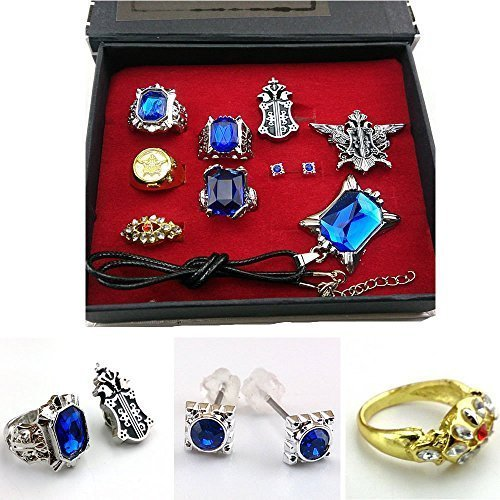 Cosplay Black Butler Ciel Sebastian Ring Necklace Earring Studs Set by HiRudolph