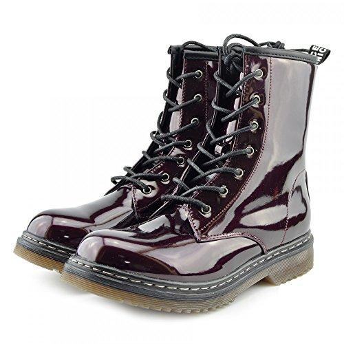 Kick scarpe da donna pizzo caviglia retro da bagagliaio da donna funky vintage fangbanger martin caviglia bagagliaio BORDO hi shine