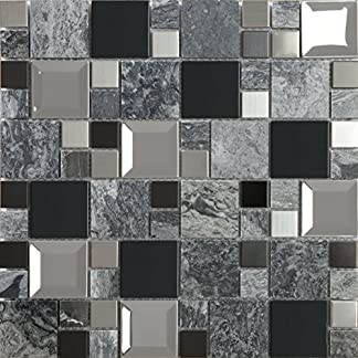 Mosaico de Vidrio y Mármol en Malla DEC-47082AQF499 , Gris, 8 mm, 30 x 30 cm