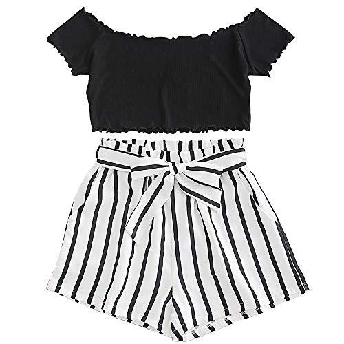 ZAFUL zweiteiliges Sommer Kleidung Set für Damen, Kurzarm T-Shirt + Hose mit kurzen Streifen (Schwarz, S)