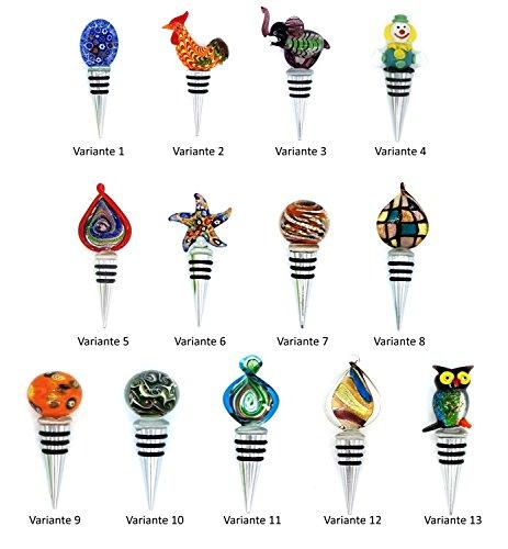 Flaschenverschluss aus Edelstahl mit Dichtungsringen und Glas-Figur verschiedene Varianten (Var.3 Elefant)