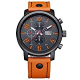 Herren Orange Band Analog Sport Quarz Armbanduhr, Kalbsleder, Mattes Finish Zurück