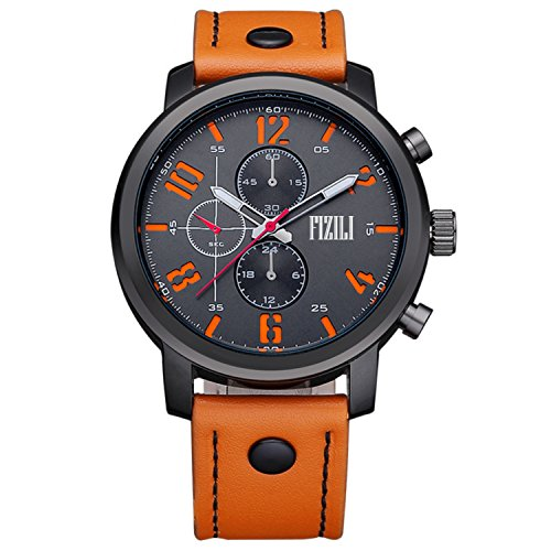 Mens-Orange-Band-Analogue-Sport-Quartz-Wrist-Watch-Calfskin-Leather-Matte-Finish-Back