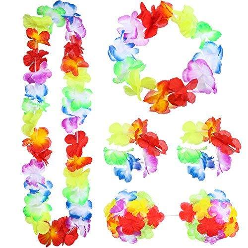 Lvcky 8Stück Hawaiian Hula Gras Rock Set Halskette Armbänder Haarband Flower Bikini Top Stirnband Clip Ananas Sonnenbrille Party Dekoration