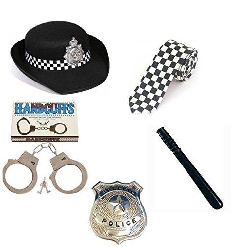 (LS Glamour Zimmer) Frauen Police-Set Fancy Kleid, Hut, Krawatte, Schlagstock, Police Badge, Handschellen. Gr. Einheitsgröße, Full Women Police Set