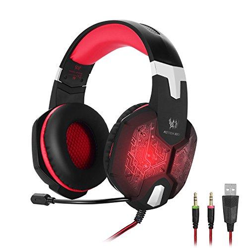 KOTION EACH Auriculares para jueguos con Microfono G1000 Profesional para Videojuegos 3.5mm PC Gaming Bass Stereo Headset Auriculares Diadema de aislamiento de Ruido de Respiración Durante la Oreja Color Luz LED para Ordenador