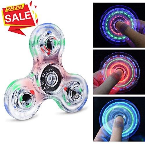 Fidget spinner hand spinner quimat a mano luce led up giocattoli da dita edc 216 modalità bambini adulti aiuta con ansia concentrazione noia riduce lo stress alta velocità (cristallo)