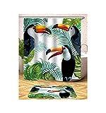 Bishilin Lustiger 3D Duschvorhang Antischimmel Vogel Duschvorhang Wasserdichter 180x180 cm