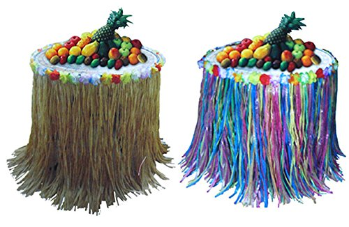Knut-Odegaard--Party-decoracin-Etagere-Hawaii-Aloha-Hula-Rock-Diseo-de-2-unidades-multicolor