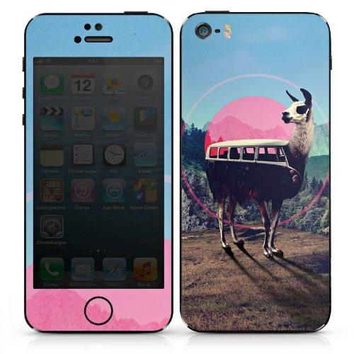 Apple iPhone SE Case Skin Sticker aus Vinyl-Folie Aufkleber Lama Hipster Bus DesignSkins® glänzend