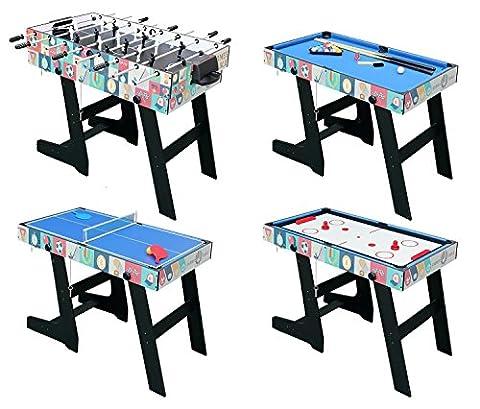 HLC 121.5*61*81.3 CM Zusammenklappbar 4 in 1 multifunkniertes Tischspiel -- Tischfußball(Tischkiker)/Tischtennis /Air Hockey