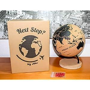 DRW Bola del Mundo – Globo terráqueo Corcho con chinchetas para marcar Paises o Viajes 21x18x18 cm