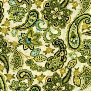 25x112cm Patchworkstoff, Blütenornamente und Paisley auf grünem Hintergrund. Meterware