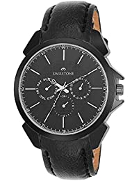 Swisstone SW-GR026-BLK-BLK Black Dial Black Leather Strap Analog Wrist Watch For Men/Boys