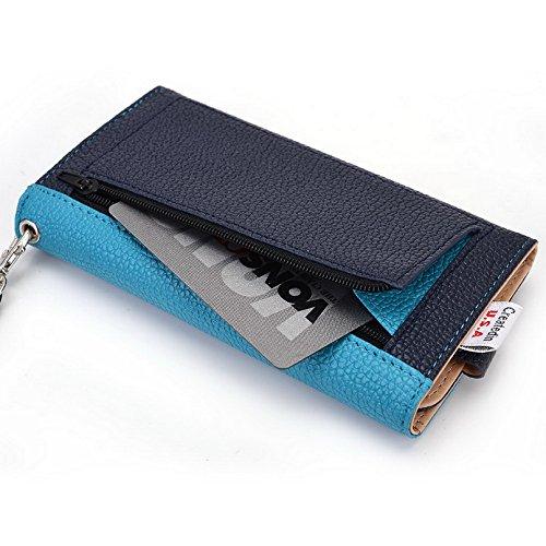 Kroo Pochette Téléphone universel Femme Portefeuille en cuir PU avec sangle poignet pour Sonim XP7/Land Rover A8 Multicolore - Emerald Leopard Bleu - bleu