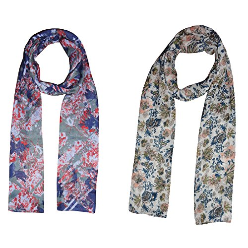 Dream Fashion Combo Pack of 2 Poly Cotton Printed Scarf, Stole For Women's Girl's