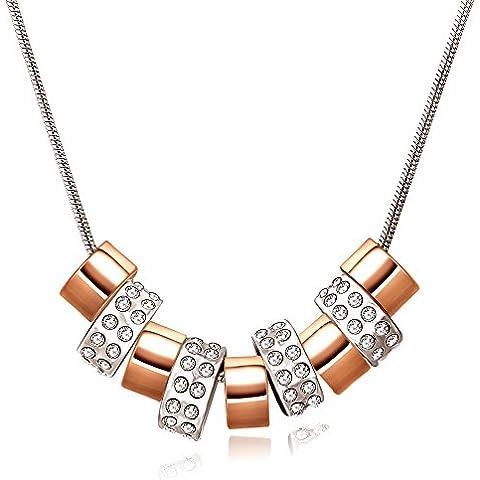 City Ouna® Swarovski Elements color de rosa y plata oro collar redondo moda aleación joyería mujeres