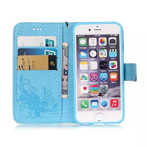 iPhone Case Cover Gemaltes Farbenmuster-Mappenartkasten magnetisches entwerfen Flipfolio PU-Lederabdeckung standup Abdeckungsfall für iPhone 6s 6 plus 5.5 Zoll ( Color : Blue , Size : IPhone 6s Plus ) Blue