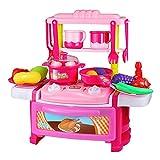 Xyanzi Kinderspielzeug Küche Spielzeug 3-6 Jahre Jungen Und Mädchen Kochen Kochen Geschirr Kinder Spielzeug Set 22 PCS (Farbe : Pink)