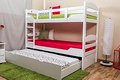 """'Stock cama con cama Buzón """"Easy Sleep K10/H Incluye Camilla Espacio y 2abdeckblenden, cabecero con agujeros, haya Completo Madera Maciza Color Blanco-Dimensiones: 90x 200cm, divisible"""