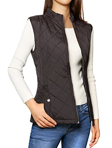 Allegra K Woman Stand Collar Zip Up Front Gilet Quilted Padded Vest Test