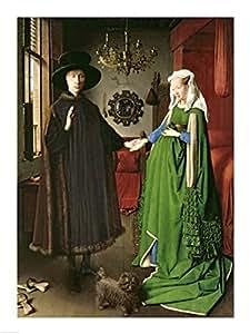 Jan Van Eyck – Le portrait de Giovanni Arnolfini et son épouse Giovanna Cenami Impression d'art Print (45,72 x 60,96 cm)