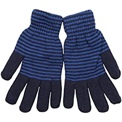 Tom Franks para hombre con forro de Feather rayas de punto guantes de invierno Azul azul