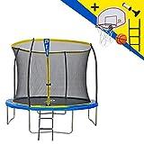 JUMP POWER - Cama elástica con Escalera y Cesta de Baloncesto, diámetro 305 cm, Unisex, Color Amarillo y Azul, diámetro