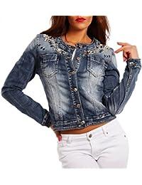 Damen Jeansjacke Jeans Jacket Blouson Strass