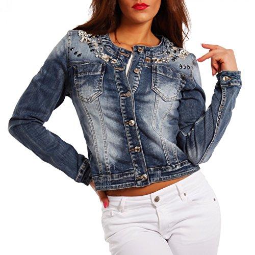 Damen Jeansjacke Jeans Jacket Blouson Strass, Farbe:Blau;Größe:40 (Frauen Strass-jacken Für)